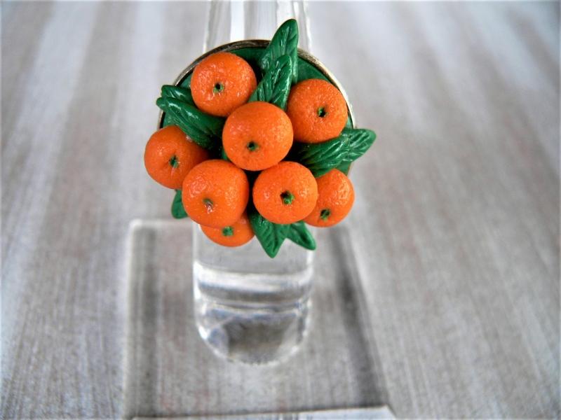 - Ring mit handmodellierten Mandarinen aus Modelliermasse Fimo  - Ring mit handmodellierten Mandarinen aus Modelliermasse Fimo