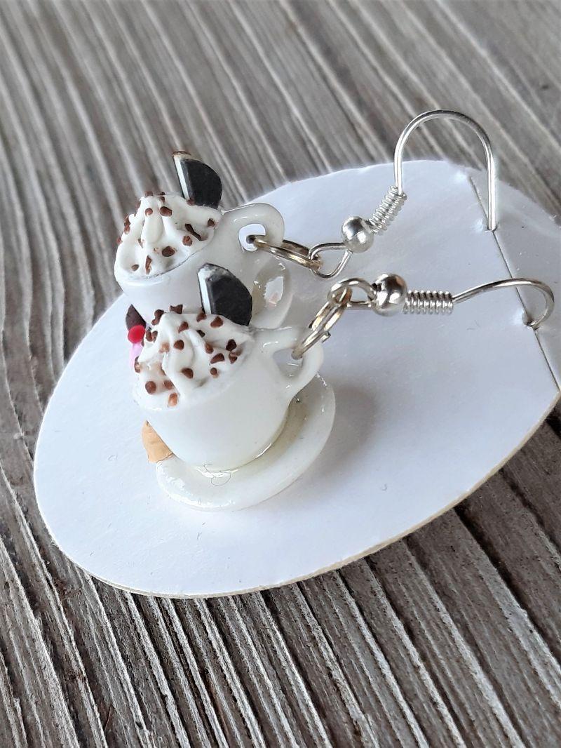 Kleinesbild -  Ohrhänger  Kaffeetassen Ohrringe Kaffee mit Pralinen witziger Ohrschmuck