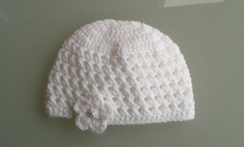 Kleinesbild - Babymütze Erstlingsmütze Neugeborenenmütze Weiß