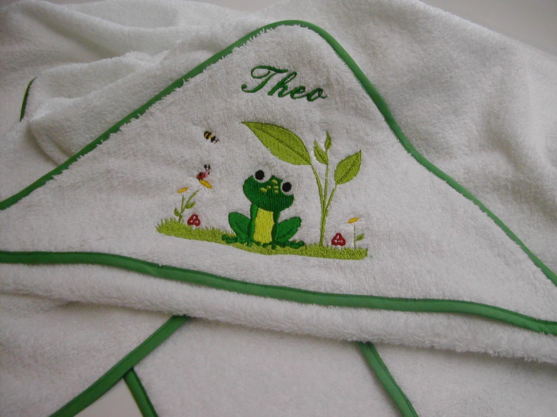 Kleinesbild - Babybadetuch 120 x 120 cm Frosch weiß/grün mit Namen Öko-Tex-Standart 100