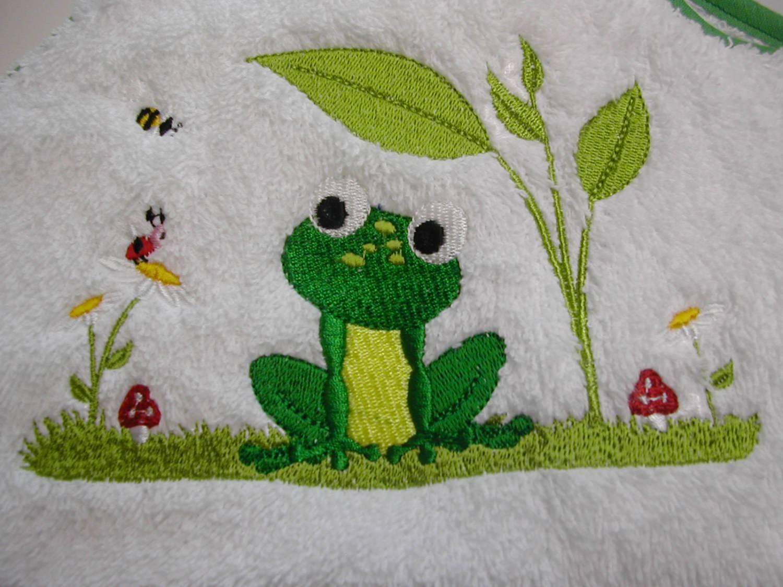 - Babybadetuch 120 x 120 cm Frosch weiß/grün mit Namen Öko-Tex-Standart 100 - Babybadetuch 120 x 120 cm Frosch weiß/grün mit Namen Öko-Tex-Standart 100