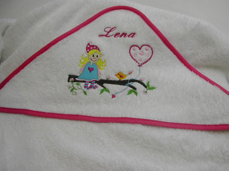 - Kapuzen Badetuch Elfe 120 x 120 cm weiß pink inkl. Namen Öko-Tex-Standart 100 - Kapuzen Badetuch Elfe 120 x 120 cm weiß pink inkl. Namen Öko-Tex-Standart 100