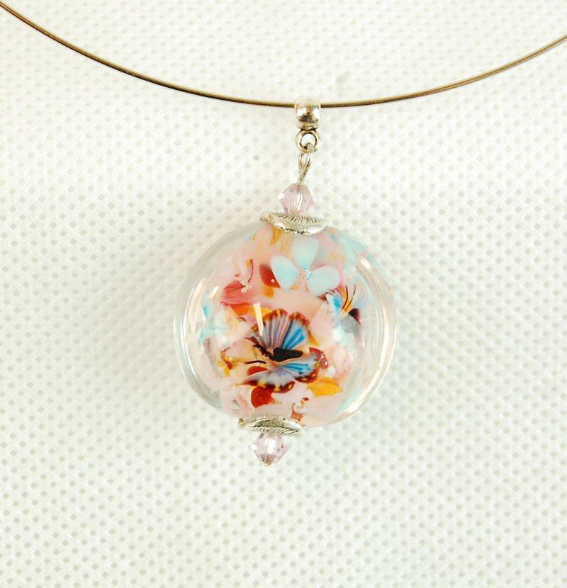 Kleinesbild - Collier Kette mit Glasanhänger und eingeschlossenen Blumen