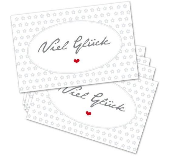 Kleinesbild - 25 Gruß-Karte, 175 g, 85 x 55 mm, Viel Glück, Mini, Kundenkarte, Geschenkanhänger, Silvester, Neujahr, Prüfung, Abi,