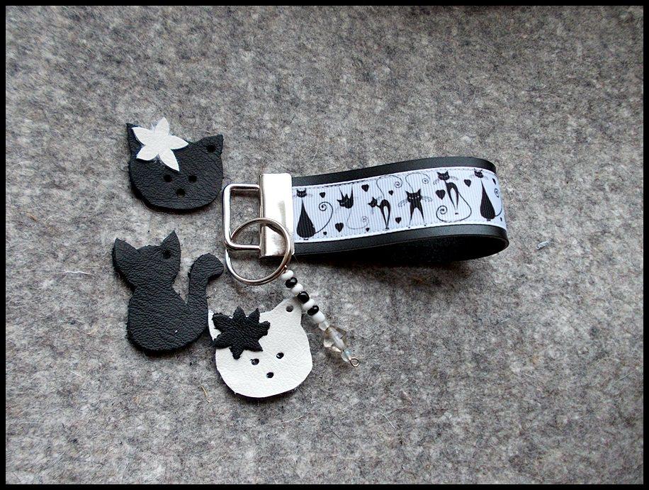- Leder Schlüsselband Katzen - Leder Schlüsselband Katzen