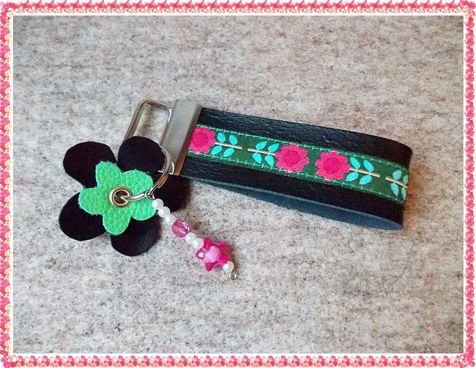 - Leder Schlüsselband Bauernmalerei - Leder Schlüsselband Bauernmalerei