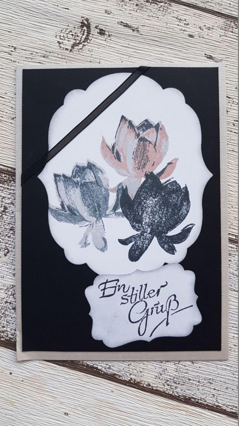 Kleinesbild - Trauerkarte Rosenmotiv  - Ein stiller Gruß - zwei Verschiedene Ausführungen