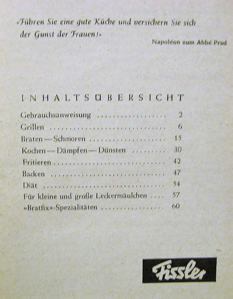 Kleinesbild - Die Original Fissler Bratfix Allzweck Rezeptbüchlein,Heft,ca. 50er Jahre