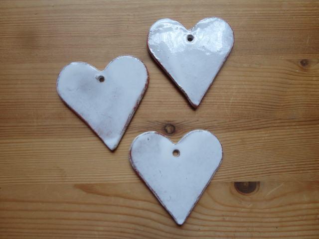 Kleinesbild - Keramikherzen braun-weiß, 3er-Set, Dekoobjekte