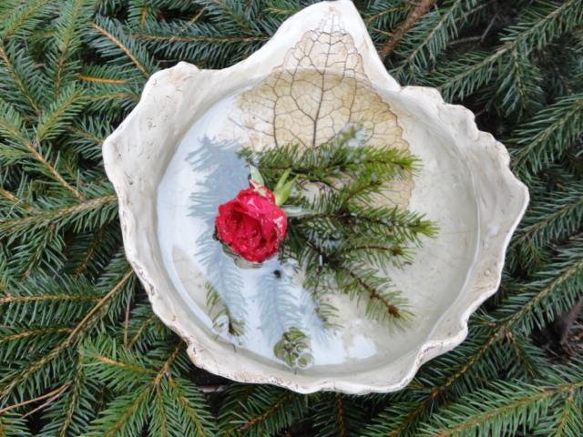 Kleinesbild - Schale mit Blattabdruck, Vogelbad, Vogeltränke, Blumenschale