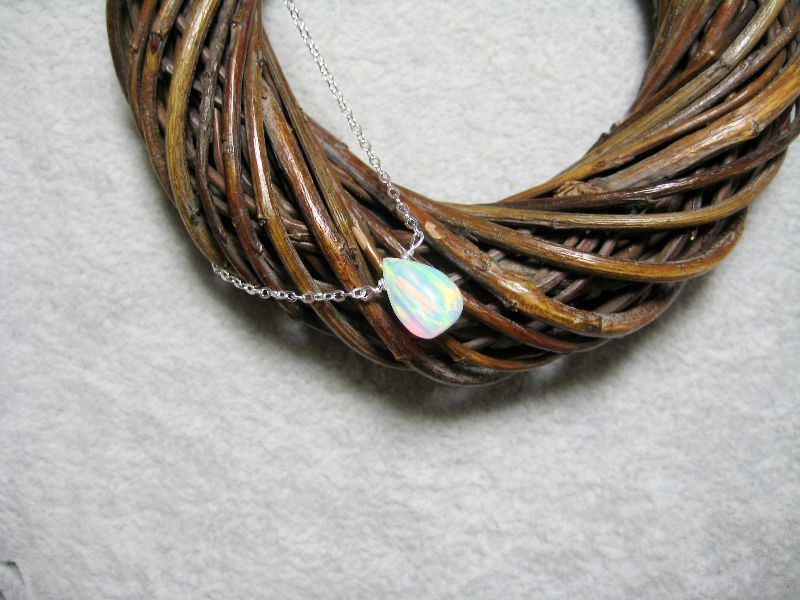 Kleinesbild - Opalkette, Opal Träne, Jelly Opal, Opal weiß, Goldfilled, Rosegoldfilled, 925 Silber, minimalistisch, Edelstein