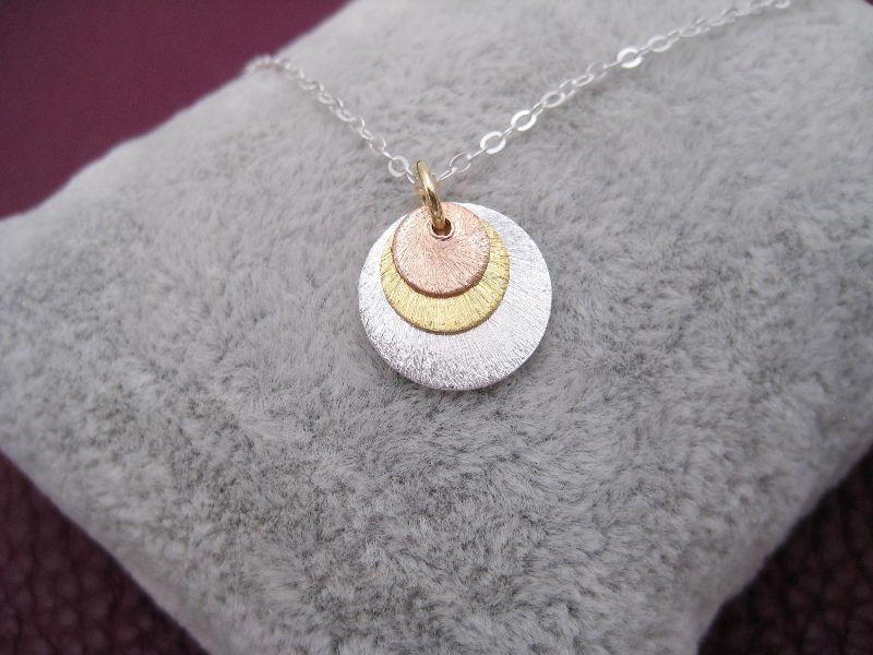 Kleinesbild - 3-er Plättchenkette, Kreisanhänger mit Struktur, 925 Silber, Gold Filled, Rosegold Filled, minimalistisch