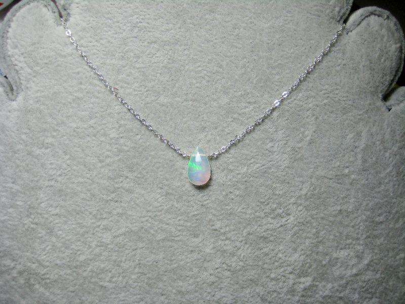 Kleinesbild - Opal-Kette, Opal Tropfen, facettiert, Anhänger Opal, 925 Silber, Gold Filled, Rosegold Filled, Geburtsstein Oktober
