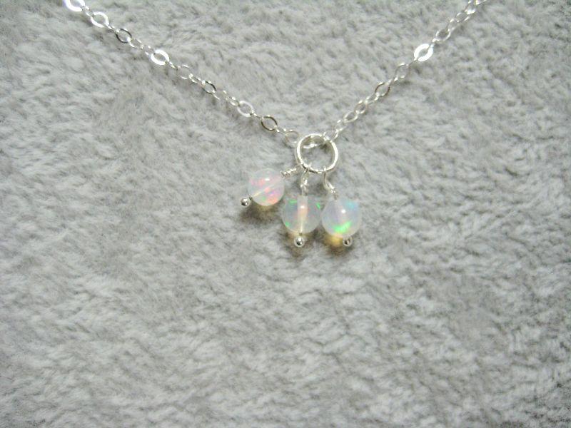 Kleinesbild - Opalkette, Welo Opale, Runde Opalperlen, 925 Silber, Gold Filled, Rosegold Filled, natürlich, zierlich, minimalistisch, Edelsteinkette