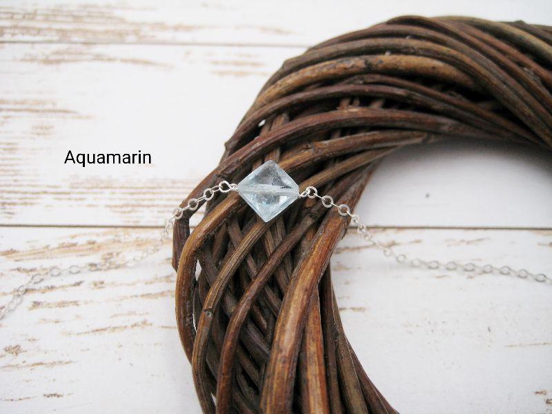 Kleinesbild - Aquamarin-Armband, Aquamarin Quadrat, 925 Silber, zierlich, Rosegold Filled, Gold Filled, Edelstein