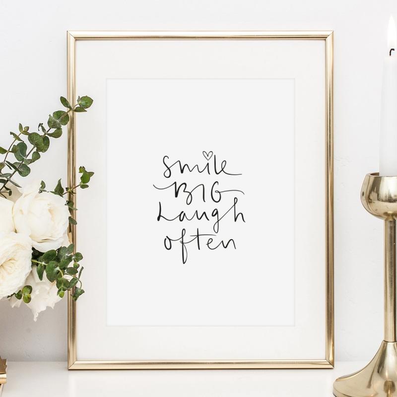 Anlässe Poster Kunstdruck Wandbild Mit Spruch Smile Big Laugh Often