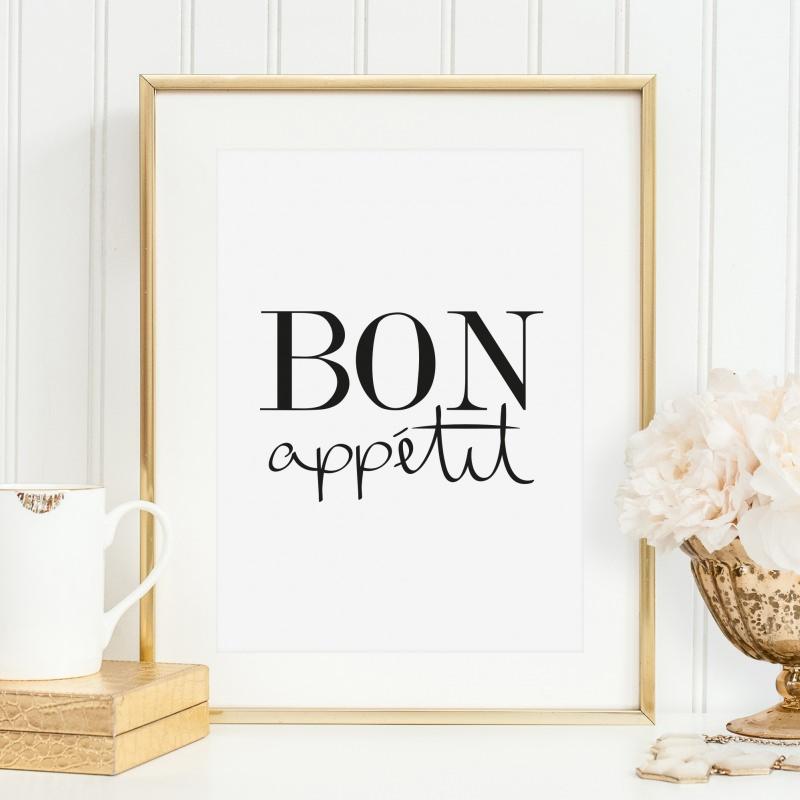 anl sse poster kunstdruck f r die k che wandbild mit spruch bon app tit. Black Bedroom Furniture Sets. Home Design Ideas