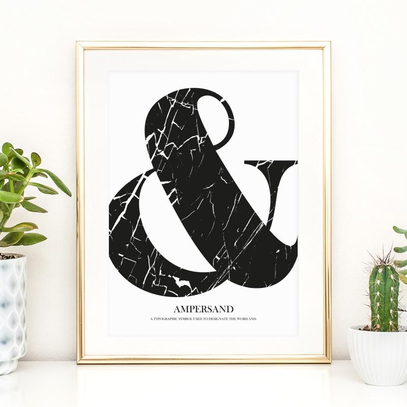 - Poster, Kunstdruck im skandinavischen Stil, Wandbild, Typografie: Ampersand im Marmorlook - Poster, Kunstdruck im skandinavischen Stil, Wandbild, Typografie: Ampersand im Marmorlook