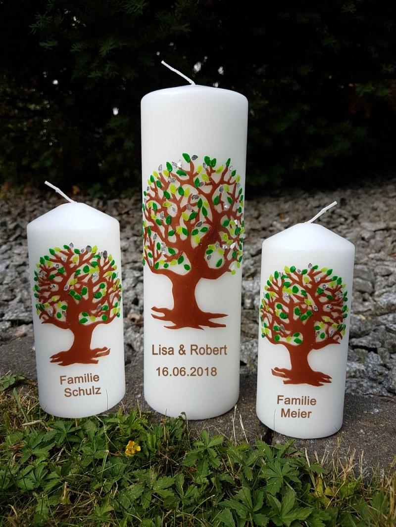 Kleinesbild - Hochzeitskerze Lebensbaum und Familienkerzen grün/silber