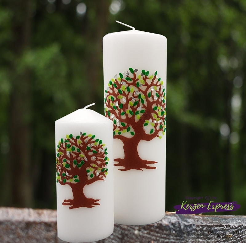 - Hochzeitskerze Lebensbaum und Familienkerzen grün/silber - Hochzeitskerze Lebensbaum und Familienkerzen grün/silber