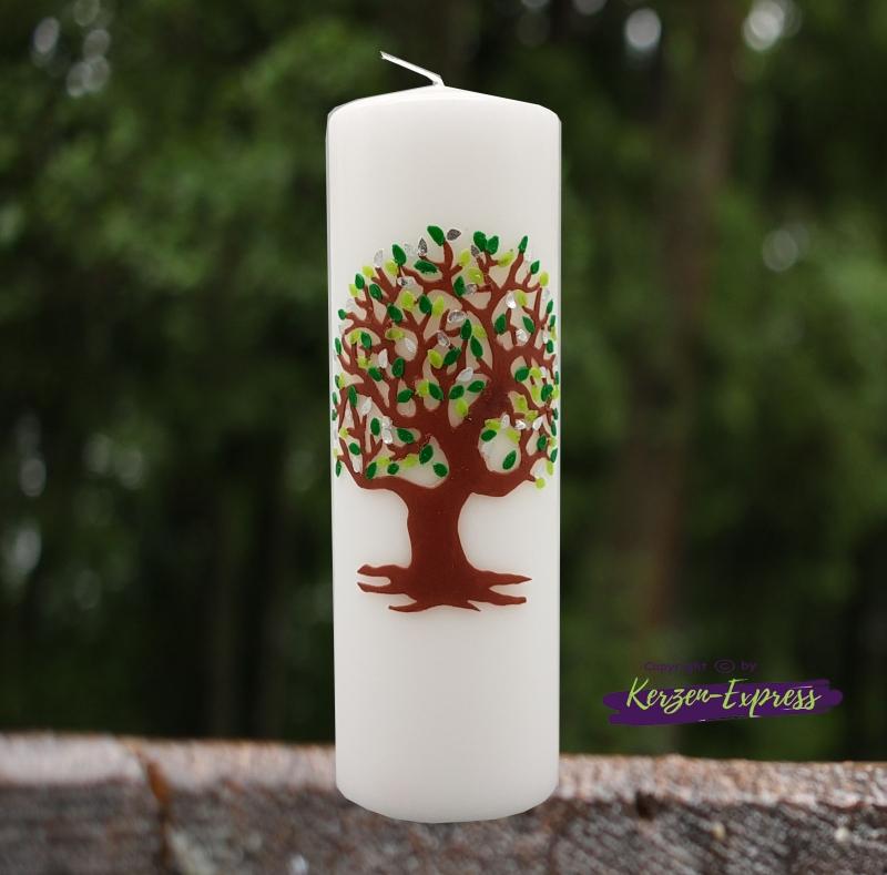 - Hochzeitskerze mit großem Lebensbaum grün/silber - Hochzeitskerze mit großem Lebensbaum grün/silber