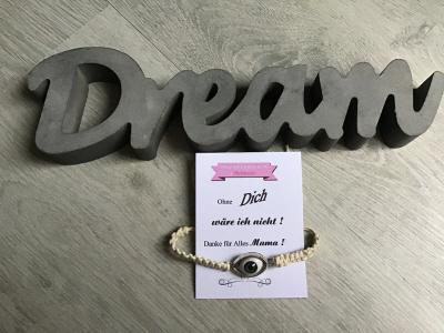 Kleinesbild - Macrame ♥ Armband ♥ Geschenk ♥ Muttertag ♥ Geburt ♥ Prüfung ♥ Unikat -türkisches Auge wollweiß