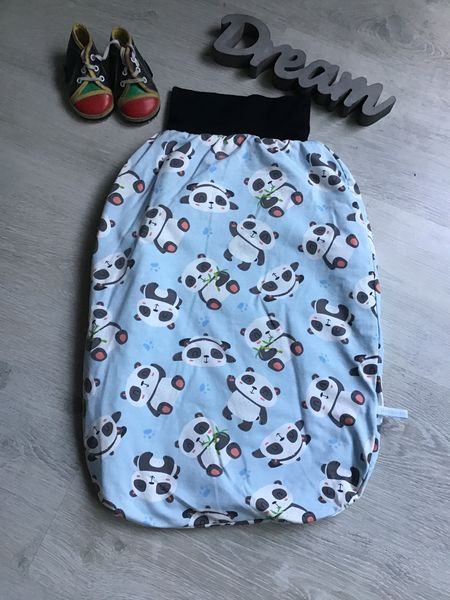 - Pucksack Schlafsack Fußsack Baby  ungefüttert - Panda hellblau - Pucksack Schlafsack Fußsack Baby  ungefüttert - Panda hellblau