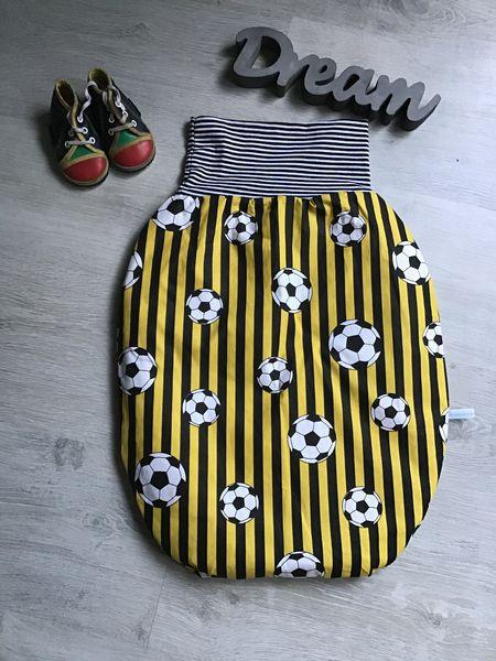 - Pucksack Schlafsack Fußsack Baby  ungefüttert - Fußball gelbweiß  - Pucksack Schlafsack Fußsack Baby  ungefüttert - Fußball gelbweiß