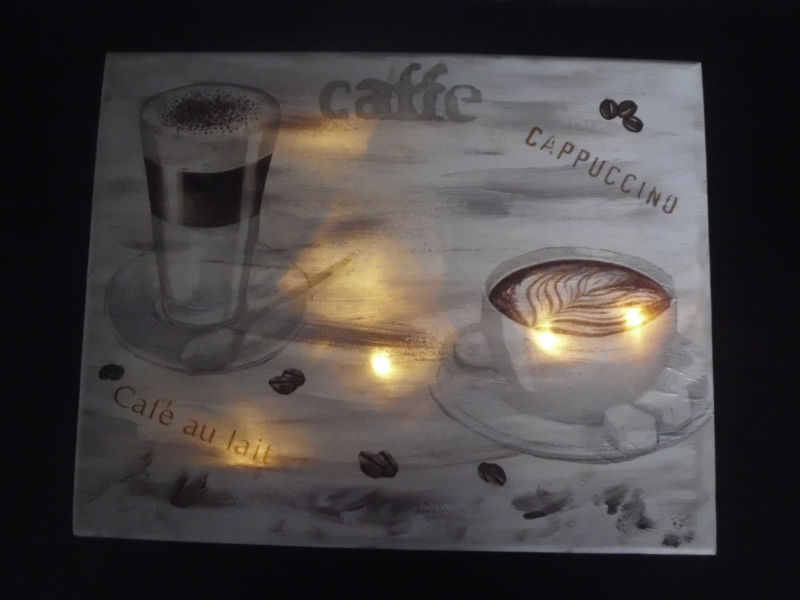 Kleinesbild - Wandlampe ☆ Wandleuchte ☆ beleuchteter Keilrahmen ☆ Nachtlicht  Küchenlicht - Caffe