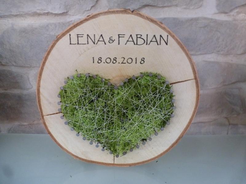 Anlasse Individuelles Hochzeitsgeschenk Baumscheibe Mit Moosherz