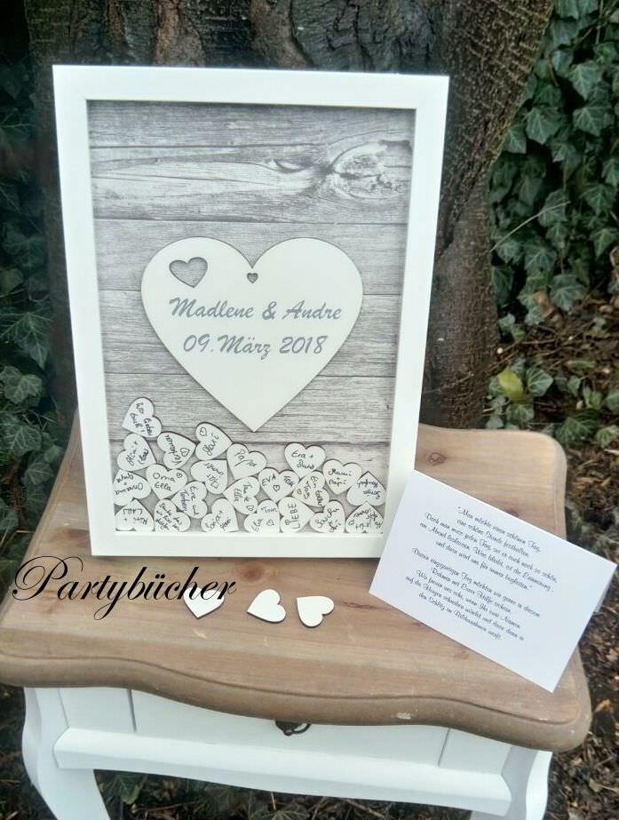 Anlasse Gastebuch Hochzeit Als Bilderrahmen Mit Holzherzen Zum