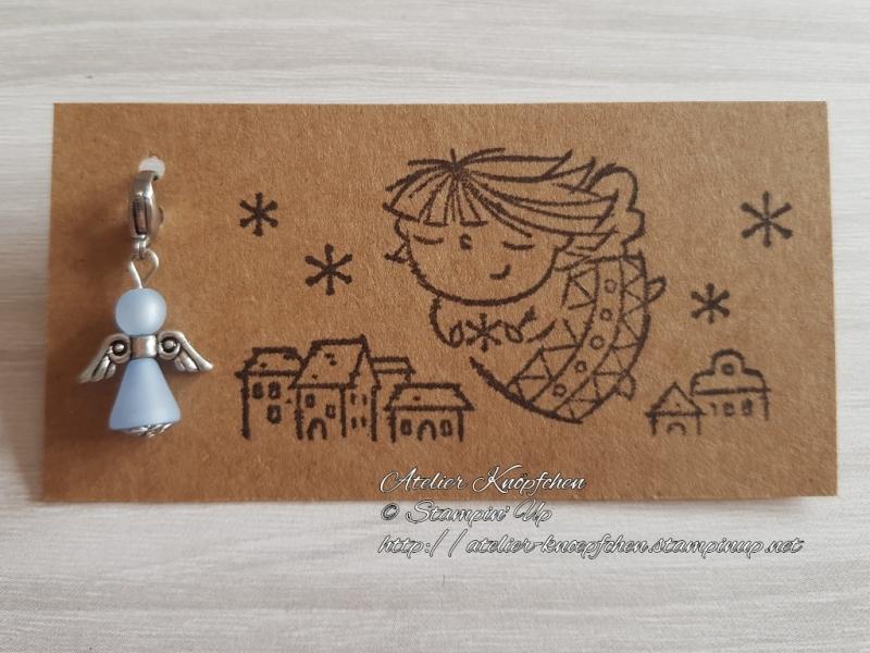 - Charm / Anhänger: Engel aus Polarisperlen ~ Himmelblau - Charm / Anhänger: Engel aus Polarisperlen ~ Himmelblau