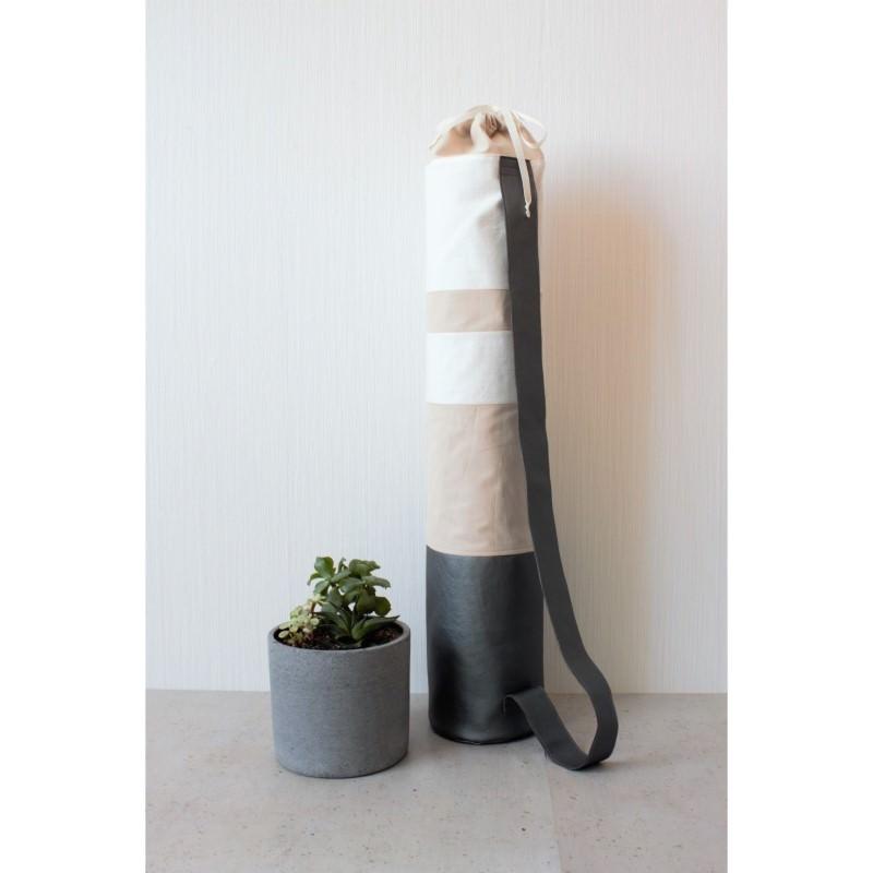 - Mattentasche aus Kunstleder und Baumwolle grau weiß rosé  [vegan] - Mattentasche aus Kunstleder und Baumwolle grau weiß rosé  [vegan]