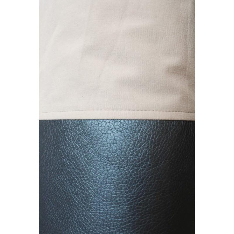 Kleinesbild - Mattentasche aus Kunstleder und Baumwolle grau weiß rosé  [vegan]