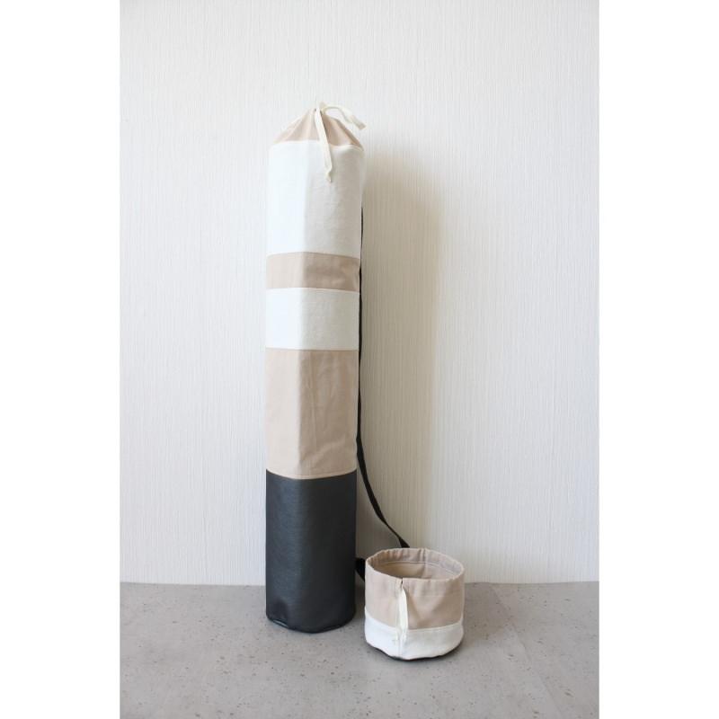 - Taschen-Set aus Kunstleder und Baumwolle grau weiß rosé [vegan] - Taschen-Set aus Kunstleder und Baumwolle grau weiß rosé [vegan]