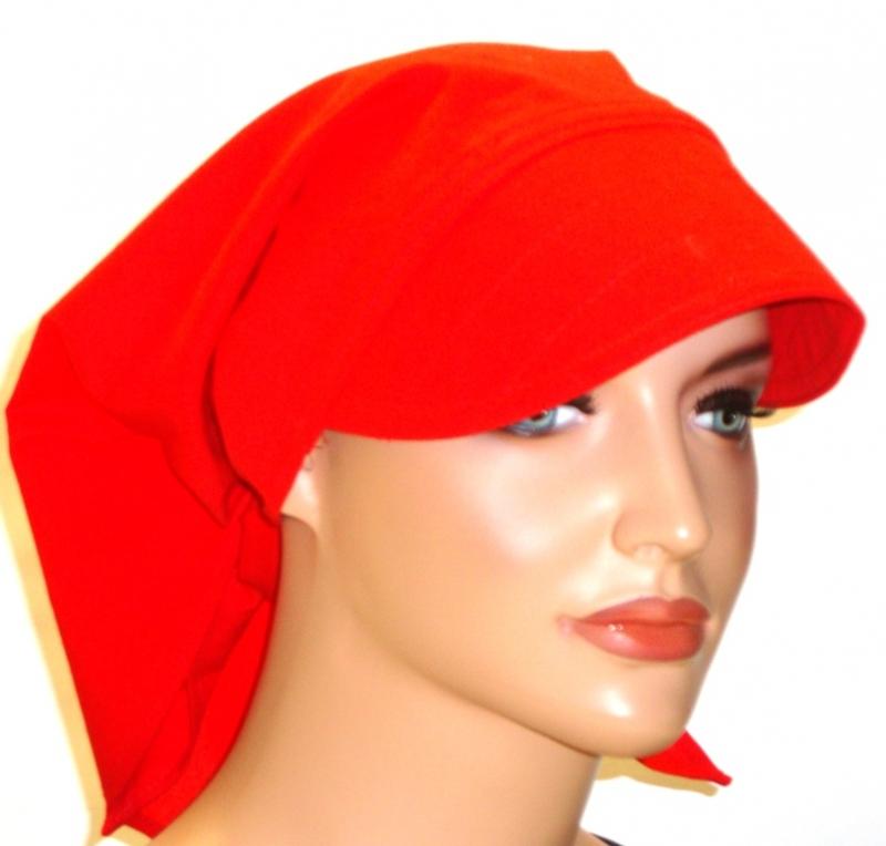 - Kopftuch rot mit Schild handgefertigt aus 100% Baumwolle  - Kopftuch rot mit Schild handgefertigt aus 100% Baumwolle
