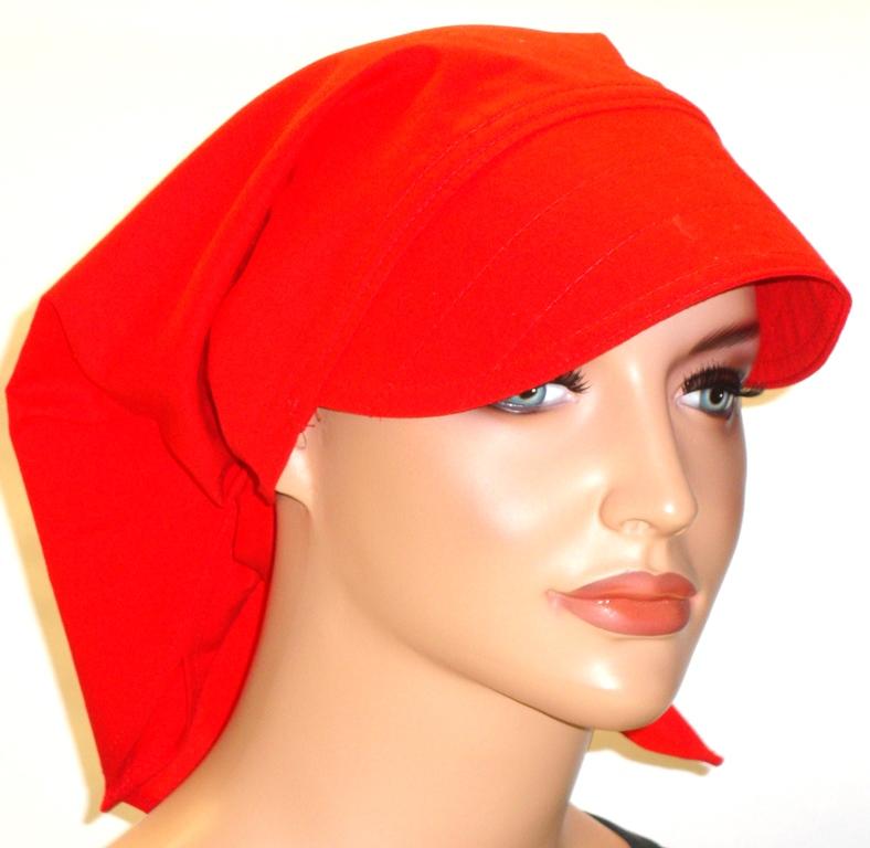 Kleinesbild - Kopftuch rot mit Schild handgefertigt aus 100% Baumwolle