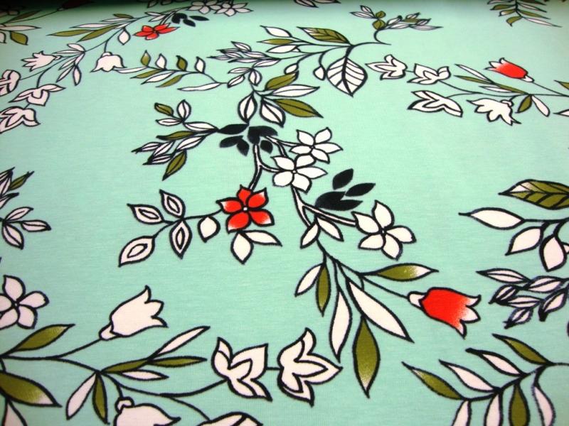- Baumwolljersey Digitaldruck Blüte, Blumen, Blätter auf Türkis - Baumwolljersey Digitaldruck Blüte, Blumen, Blätter auf Türkis
