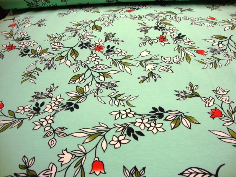 Kleinesbild - Baumwolljersey Digitaldruck Blüte, Blumen, Blätter auf Türkis