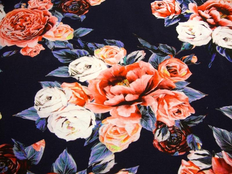 - Baumwolljersey Digitaldruck Blumen- Bouquet de Fleurs -blau -Öko-Tex - Baumwolljersey Digitaldruck Blumen- Bouquet de Fleurs -blau -Öko-Tex