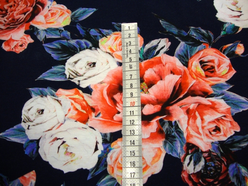 Kleinesbild - Baumwolljersey Digitaldruck Blumen- Bouquet de Fleurs -blau -Öko-Tex