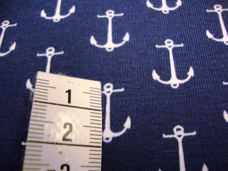 - Baumwolljersey Druck maritim 2,00cm Große weiße Anker auf marine 160cn Breit - Baumwolljersey Druck maritim 2,00cm Große weiße Anker auf marine 160cn Breit