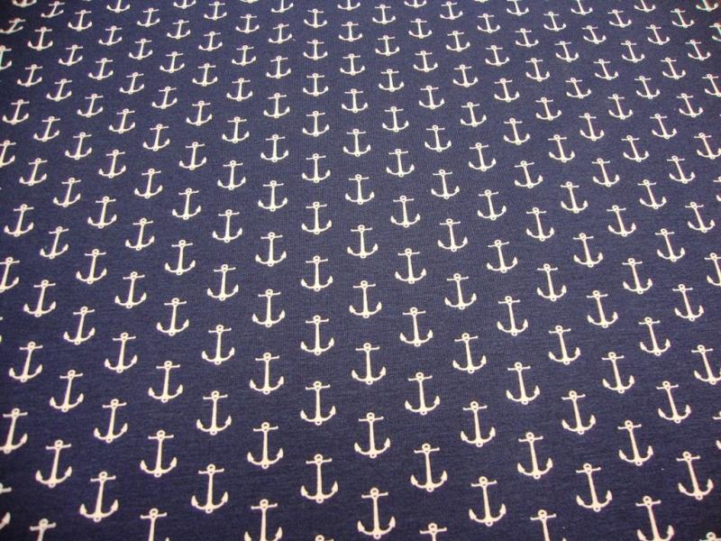 Kleinesbild - Baumwolljersey Druck maritim 2,00cm Große weiße Anker auf marine 160cn Breit