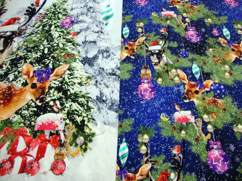 Kleinesbild - Weihnachts-Panel Digitaldruck Jersey Stoff Rehkitz, Hirsch, Kugeln blau Muster Panel ca. 0,95m/1,50mWeihnachtsPanel,Rehkitz