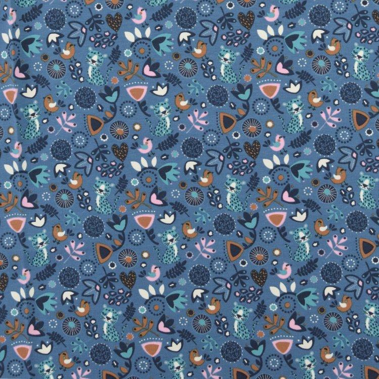 Kleinesbild - Baumwolljersey süßer Sleeping Panther mit Blumenmuster Vögel auf blau