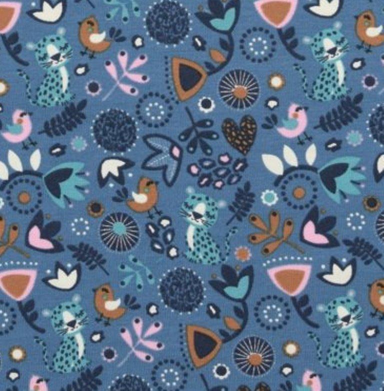 - Baumwolljersey süßer Sleeping Panther mit Blumenmuster Vögel auf blau - Baumwolljersey süßer Sleeping Panther mit Blumenmuster Vögel auf blau