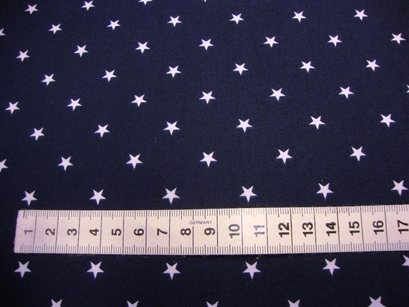 Kleinesbild - Baumwollstoff mit weissen Sternchen  auf dunkelblau
