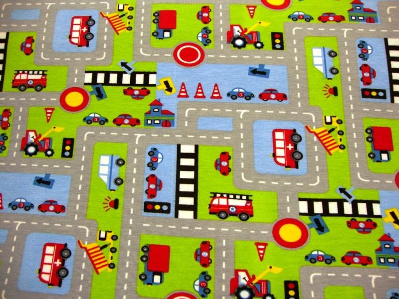 Kleinesbild - Baumwolljersey Stadtstraße Jersey Auto Straße Spielteppich Feuerwehr Bus Bagger Ampeln auf grau* Mädchen Junge Baby Kind Stoff Kinderstoff Jersey