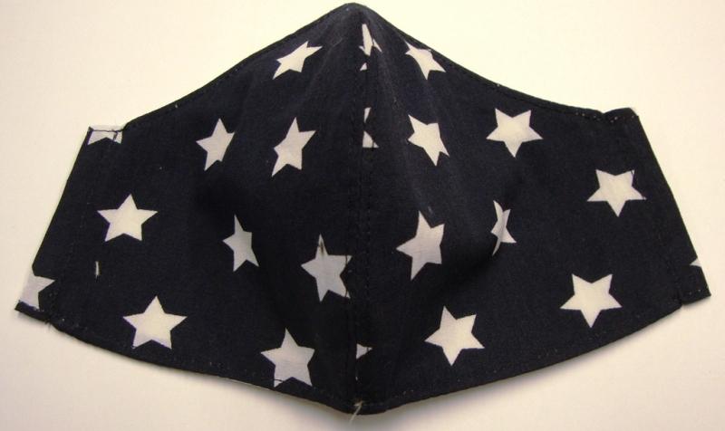 Kleinesbild - Mund und Nasen Masken in zwei Größen Kochfest mit Aufnahme für zusätzliche Einlagen, wiederverwendbar Behelfsmaske Gesichtsmaske mit weisse großen Sterne auf blau