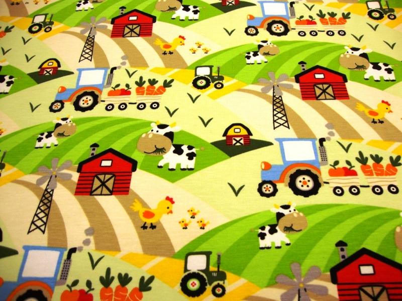 - Baumwolljersey Druck Trecker, Kuh & Co auf weiss Bauernhof Leben auf dem Bauernhof Kinderstoff für Jungs und Mädchen - Baumwolljersey Druck Trecker, Kuh & Co auf weiss Bauernhof Leben auf dem Bauernhof Kinderstoff für Jungs und Mädchen